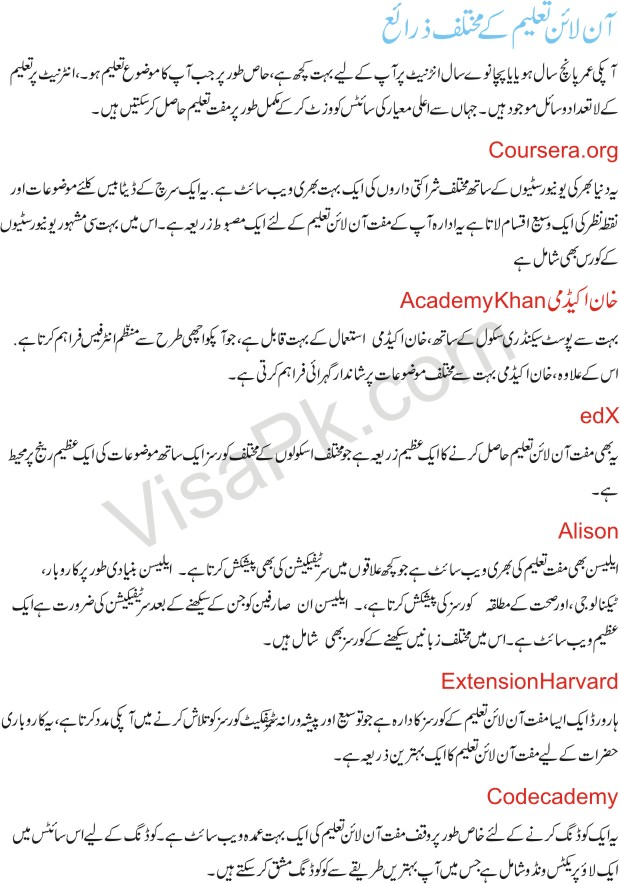 Free online education Resourses in Urdu 2